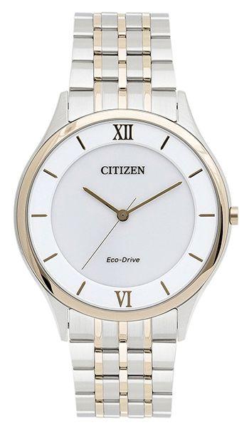 Montre Citizen Quartz Eco Drive Homme AR0075-58A - Analogique - Cadran et Bracelet en Acier Or et Argent - Verre Saphir inrayable