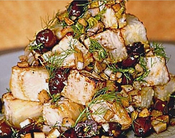 Baked celeriac with olives and feta cheese squares