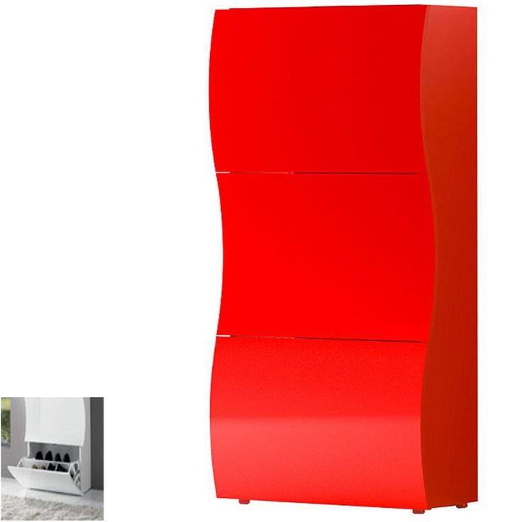 Scarpiera 3 ante 71x27xh122 cm bianco Laccato ONDA contiene 18 paia in Kit di Montaggio | Tecnos Arredamento | Stilcasa.Net: scarpiere e portascarpe