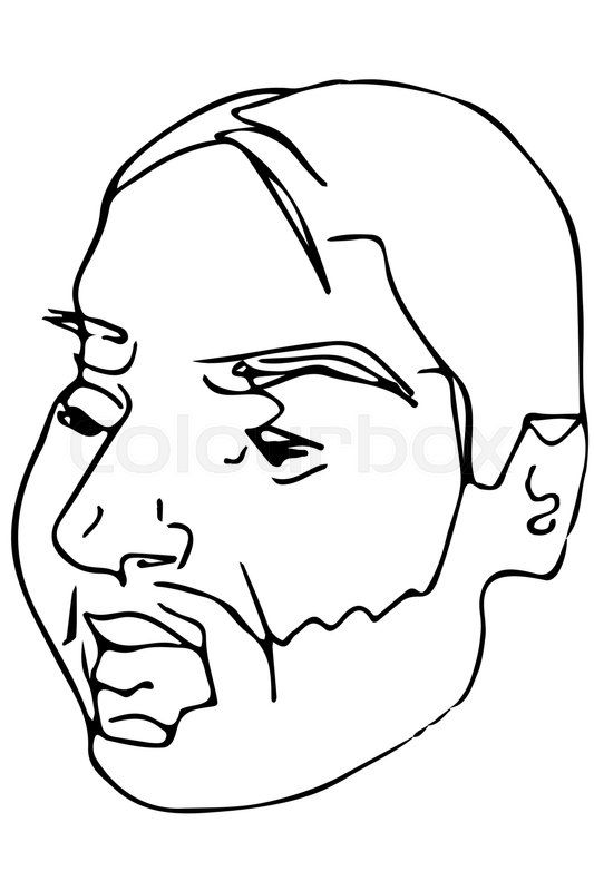 Stock vector of 'black and white vector sketch of the face of an adult male with a beard'