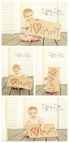 Baby boy at six 6 months. Debby Ditta Photography: Baby Happy Father's Day with sign. Tomball Houston Texas Photograph