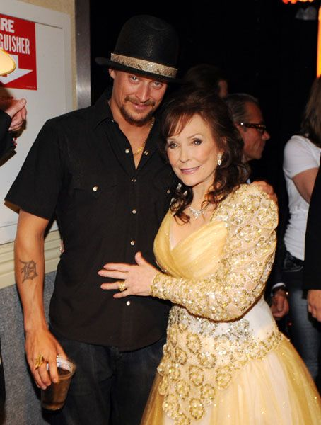 Loretta Lynn poses with Kid Rock at the Grammy Salute to Country Music on Oct. 12, 2010, in Nashville.