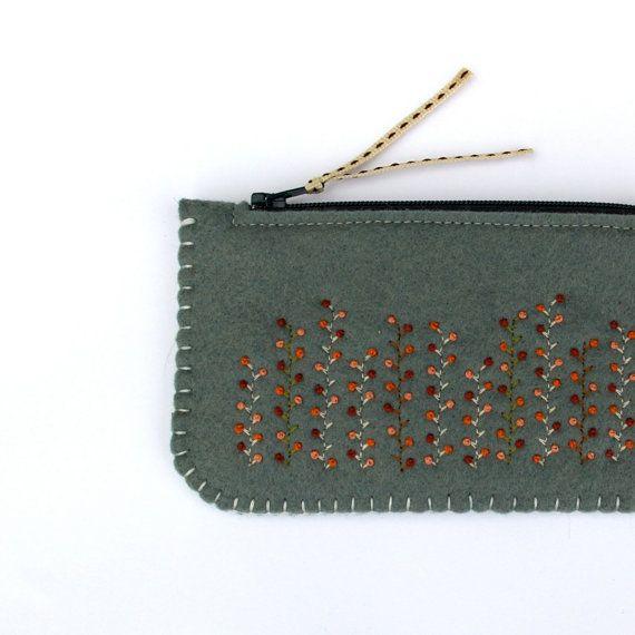 Wool Felt Coin Purse Wallet // Winter Garden by LoftFullOfGoodies, $26.00