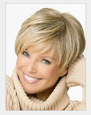 Ms. elegant European Style Short Light Blonde Wig Hair Bangs Oblique - Temarie's Fashions and Things   - 2