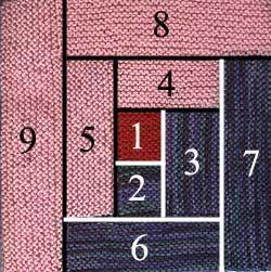 im Kreis in Blöcken zum Quadrat stricken