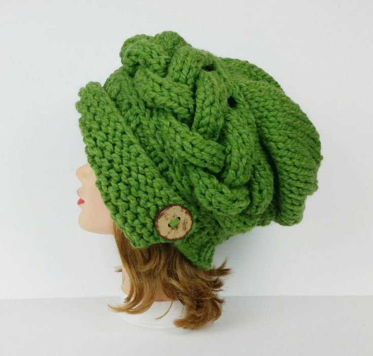 Cloche Hat - 1920s Cloche Hat - Flapper Hat - Green Hat - Slouchy Hat With Button - Cable Knit Hat In Grass - Chunky Knit Hat Women by BettyMarieJones on Etsy