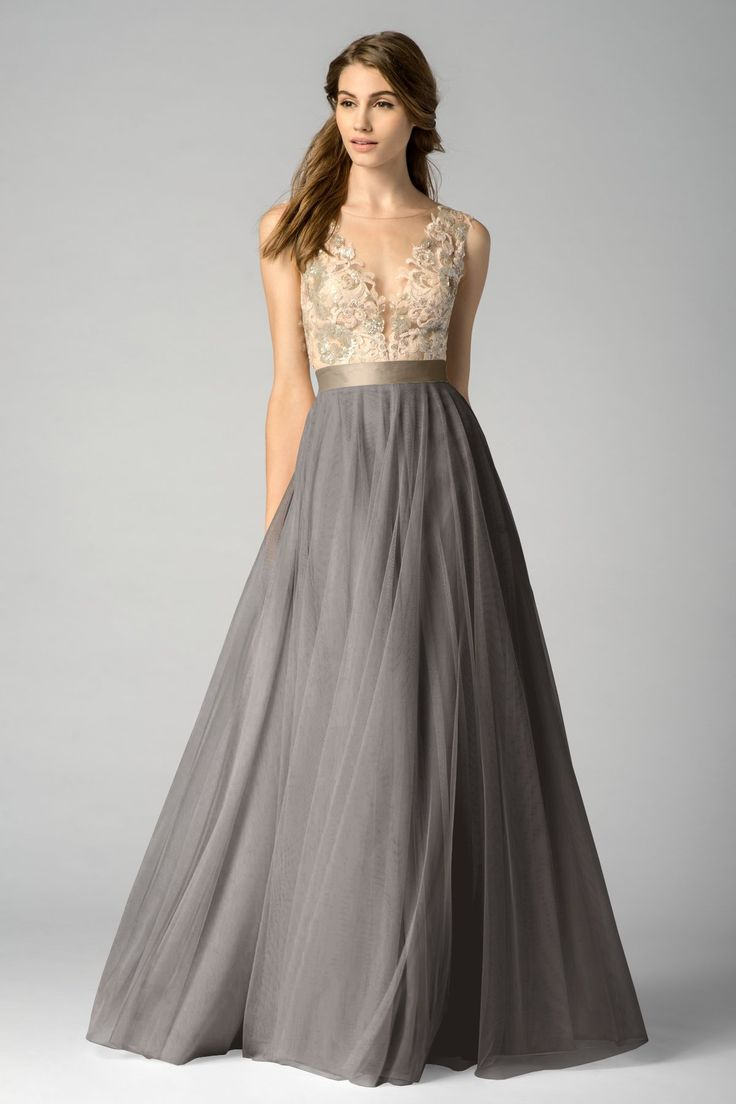 Nice lace and chiffon MOB dress with lace bodice and a darker sillhouette on bottom. By Watters