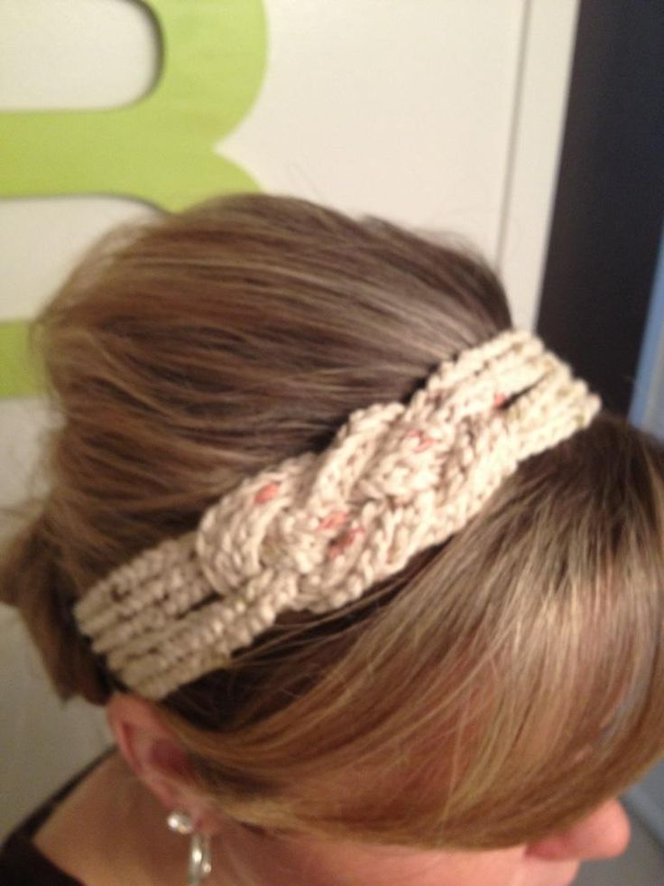How to join the ends on an elastic ponytail- crochet headband -- Crochet chains, woven in the style of a Caric knot...