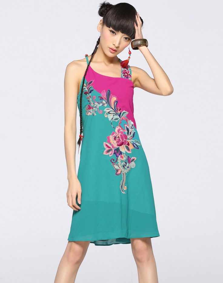 Summer Stitching Embroidery Halter Top Dress