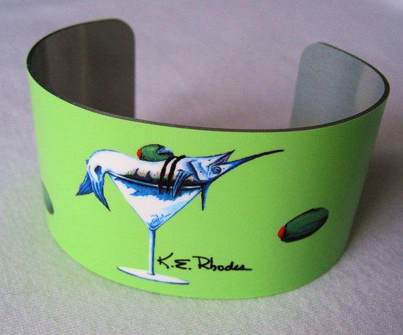 Marlin Martini lime green fishing aluminum Cuff by billfishart