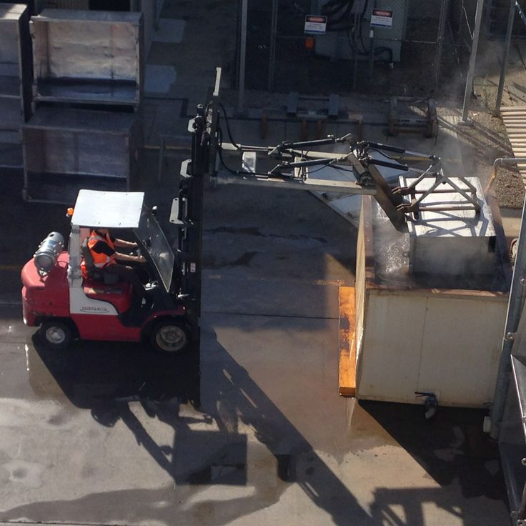 The big dipper - bins being dipped before leaving the winery.