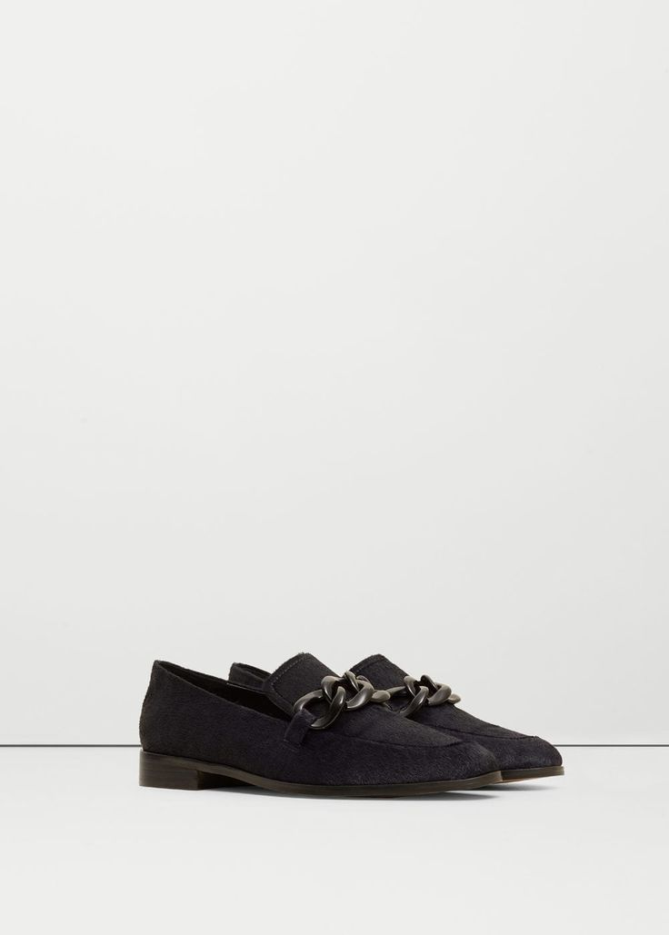 Fur leather loafers - Women