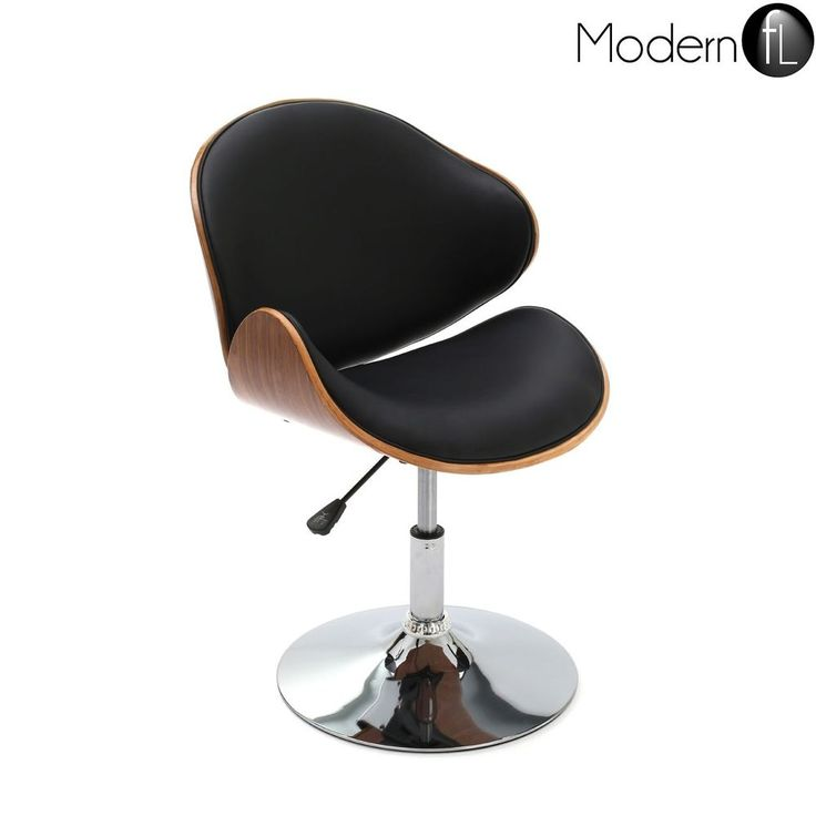 BLACK FAUX LEATHER AND WALNUT SWIVEL CHAIR HEIGHT ADJUSTABLE Dining Room