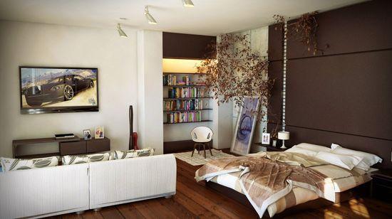 Контрастная бело-коричневая отделка стен для зонирования спальни гостиной