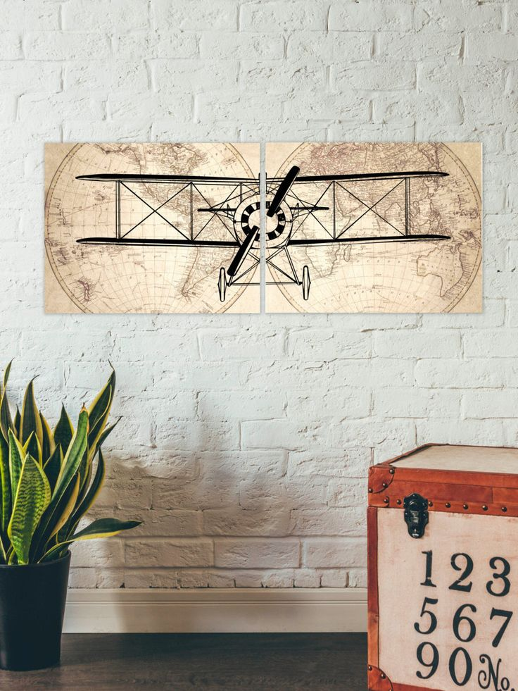 Vintage Aviation Wall Decor : Airplane prints set of pieces nursery art decor wall