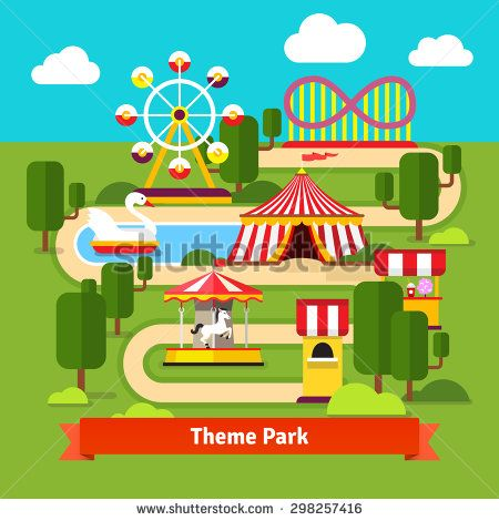 Amusement park map, ferris wheel, roller coaster, carnival tent, carousel and ticket booth. Flat vector cartoon illustration.