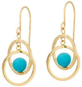 QVC As Is Turquoise Circle Dangle Earrings 14K Gold