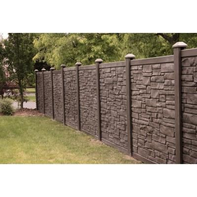 SimTek 6 ft. x 6 ft. EcoStone Dark Brown Composite Fence Panel-FP72X72EDBR - The Home Depot