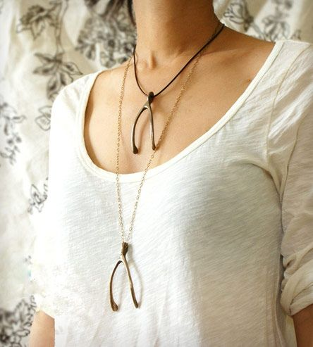 Lifesize Brass Wishbone Necklace | Women's Jewelry | Sora Designs | Scoutmob Shoppe | Product Detail