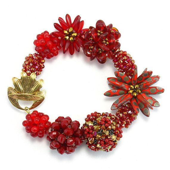 """Love That Red"" Statement beaded jewelry. Add  this bracelet to your collection! $189.00 #jewelry #handmade #statementjewelry #redbracelet #bracelet"