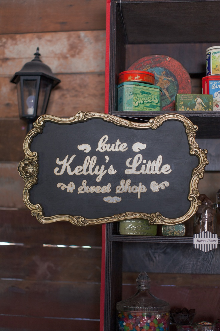 A Vintage & Pretty blackboard sign for Kelly's candy shop.