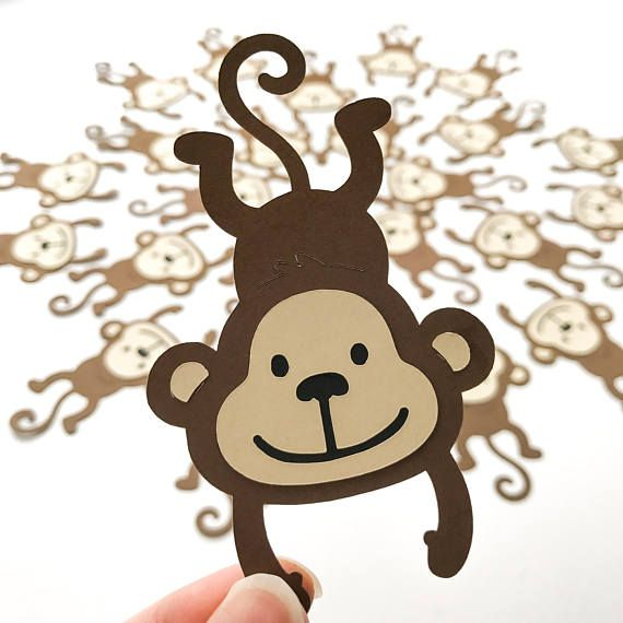 MONKEY Die cuts CHOOSE your SIZE Birthday monkey cutouts diecuts die cuts Party Decorations Decor cupcake toppers cake toppers favour favor bags
