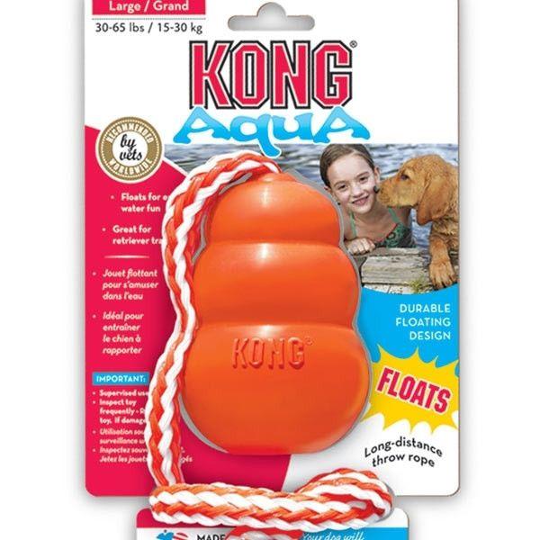 Kong Aqua es un juguete para perros que se escapa por todos lados, saltando imprevisiblemente o nadando, pero le delata su color naranja. Su perro podrá ejercer de policía y acabar con la fuga.
