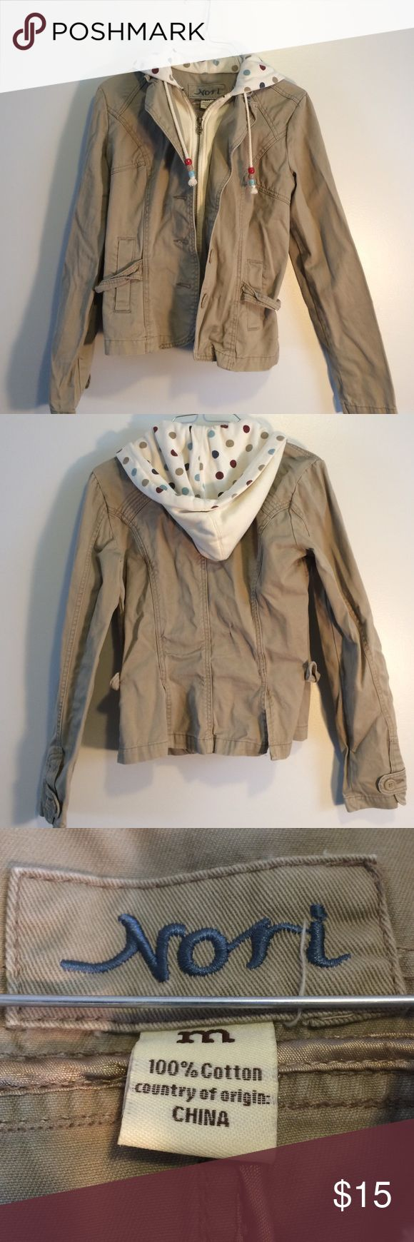 Khaki colored jacket with poke a dot hood size m Khaki color zip and button up jacket with poke a dot hood and beaded draw strings for hood. Size medium. There was a small hole on the back but it has been professionally mended and is not noticeable see last picture. Jackets & Coats