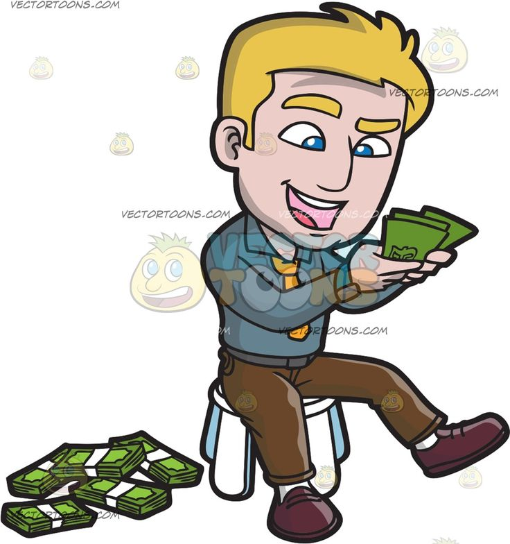 A Happy Guy Counting The Money Bills In His Hands :  A man with blonde hair wearing a blue and gray watch around his right wrist gray long sleeve gray belt brown pants white socks and brownish red shoes parts his lips to smile in excitement while seated on a white stool as he counts the green bills in his hands bundles of green cash with white strap are placed beside him  The post A Happy Guy Counting The Money Bills In His Hands appeared first on VectorToons.com.   #clipart #vector #cartoon