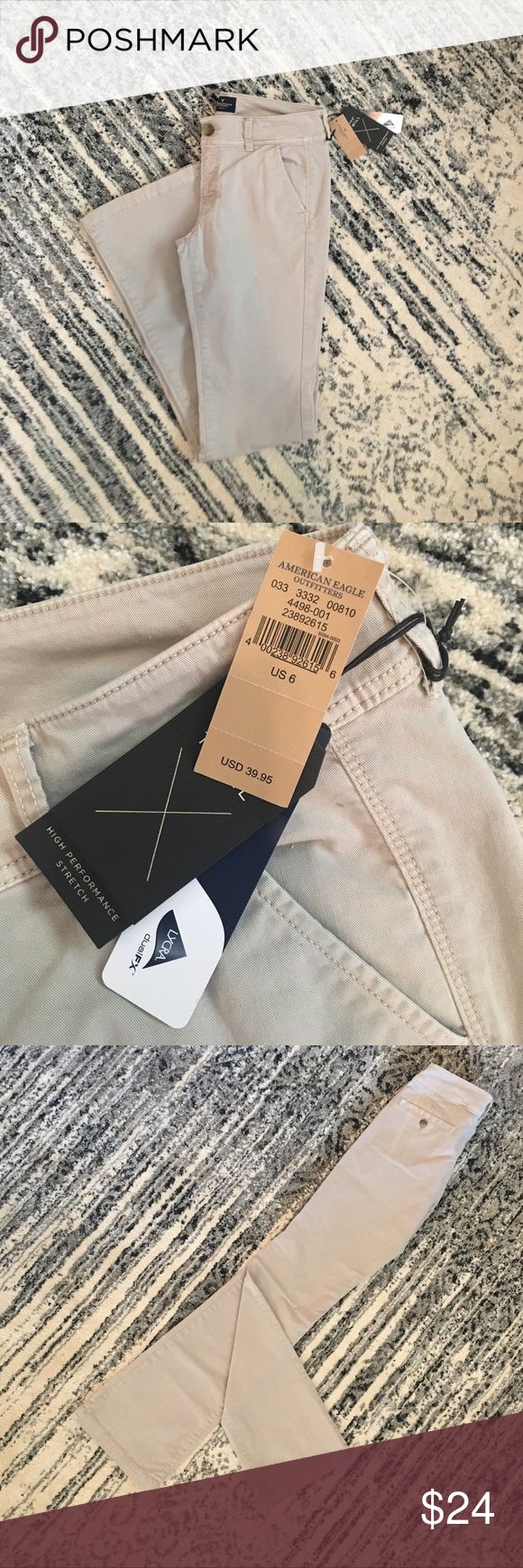 Kick Boot Khakis Needing to update your work wardrobe for half the price? These stretchy kick boot khakis are here to save the day! Perfect for wearing long hours and casual enough to dress up or dress down with! (Small stain on the front right leg, but very subtle!!) Size 6 Long American Eagle Outfitters Jeans Boot Cut
