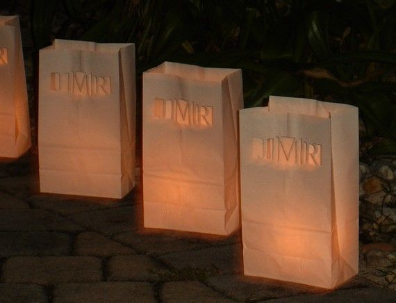Personalized Wedding Candle Luminaries W Custom Laser Cut Monogram Http Www