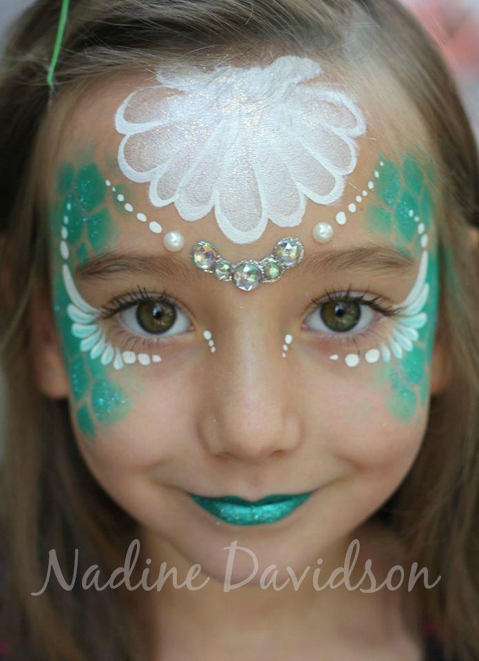 We love this mermaid face paint by Nadine Davidson  http://www.nadinesdreams.com #mermaidfacepaint #mermaid #princessfacepaint