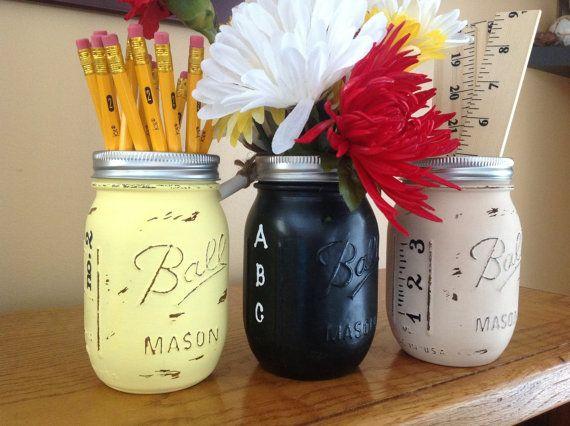 Set of 3 Hand Painted Teacher Mason Jars by MidnightOwlCandleCo