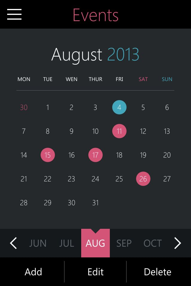 Event Planner – Metro Style UI Design for Apple iphone/iOS