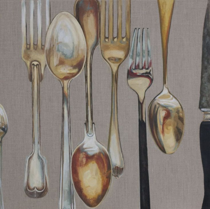 ARTFINDER: Spoons, Forks and Knife by Hannah  Bruce - This painting is part of a series investigating the reflective and surface qualities of Cutlery - especially the lovely odd antique, rustic varieties. I love...