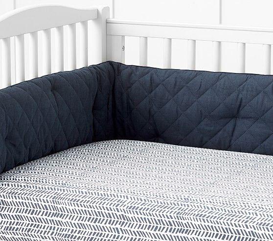 Baby Chevron Sateen Crib Fitted Sheet, Navy