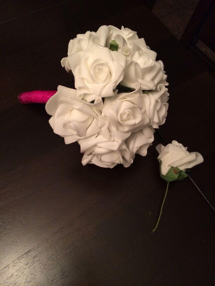 Bouquet de la mariée  25 e anniversaire de mariage  Fait à la main avec des fleurs en soies