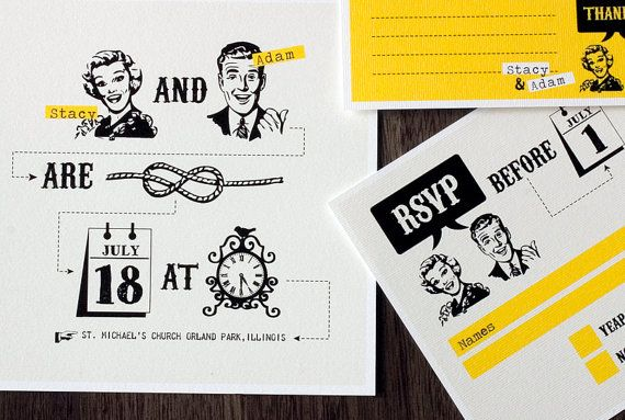 "50s wedding invitation set - ""Tying the knot""- so precious! Not a fan of the yellow, but such a cute idea!"