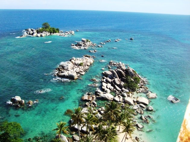 A view of Lengkuas Island. This photo was taken from a lighthouse there.