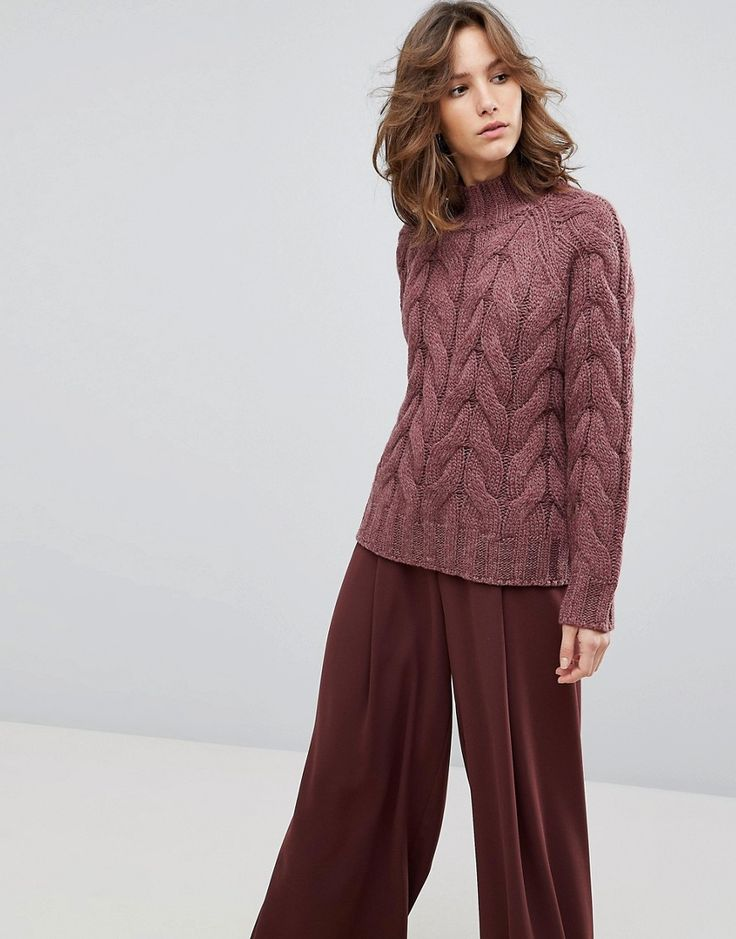 Selected Femme Chunky Cable Knit Sweater - Orange