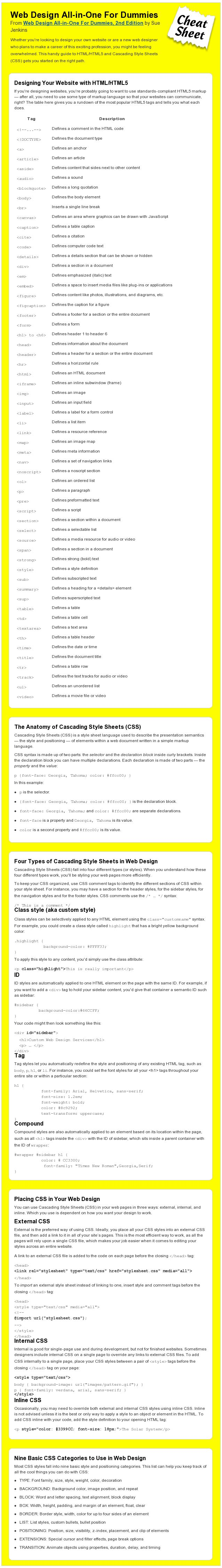 HTML5 and CSS Cheat Sheet