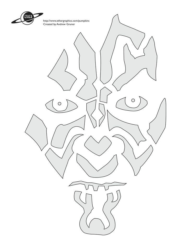 darth mal star wars pumpkin carving stencil