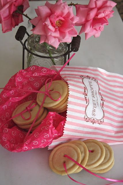 Cute as a Button Cookies!  String together with ribbon .. gift in cute gift bags! <3