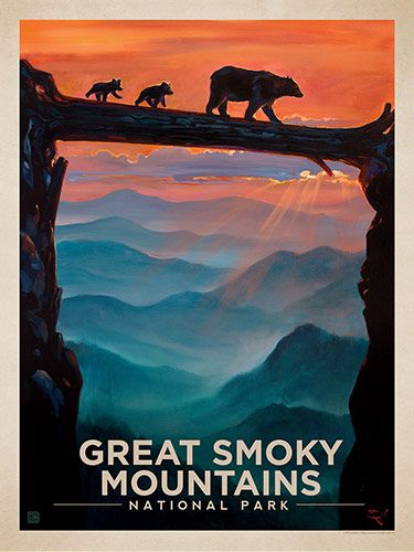 Great Smoky Mountains National Park: Bear Crossing - Anderson Design Group has created an award-winning series of classic travel posters that celebrates the history and charm of America's greatest cities and national parks. Founder Joel Anderson directs a team of talented artists to keep the collection growing. This oil painting by Kai Carpenter celebrates the wonder of Great Smoky Mountains National Park.