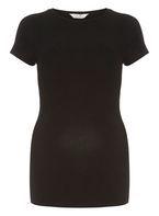 Womens **Maternity Black Short Sleeve Ribbed Top- Black