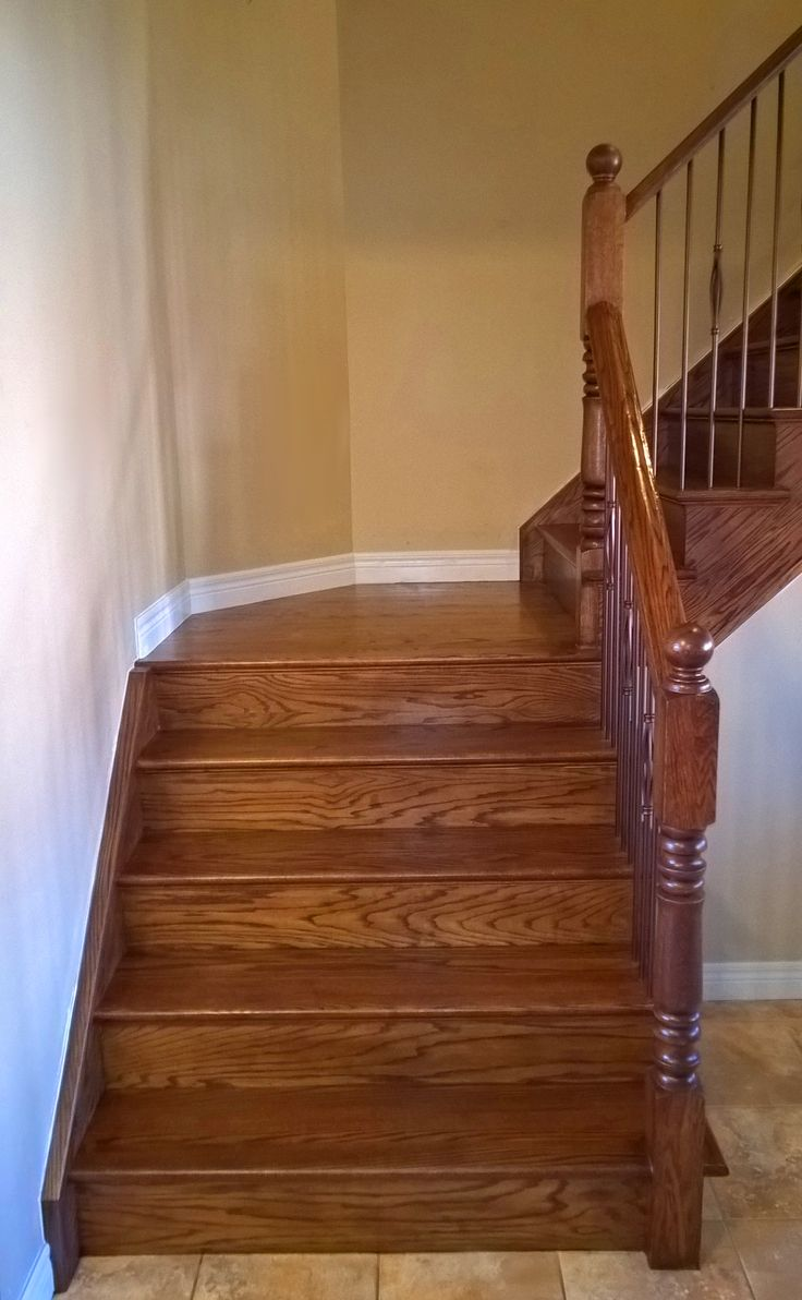 Stairs Capping Refacing Special Walnut Stain On Red Oak