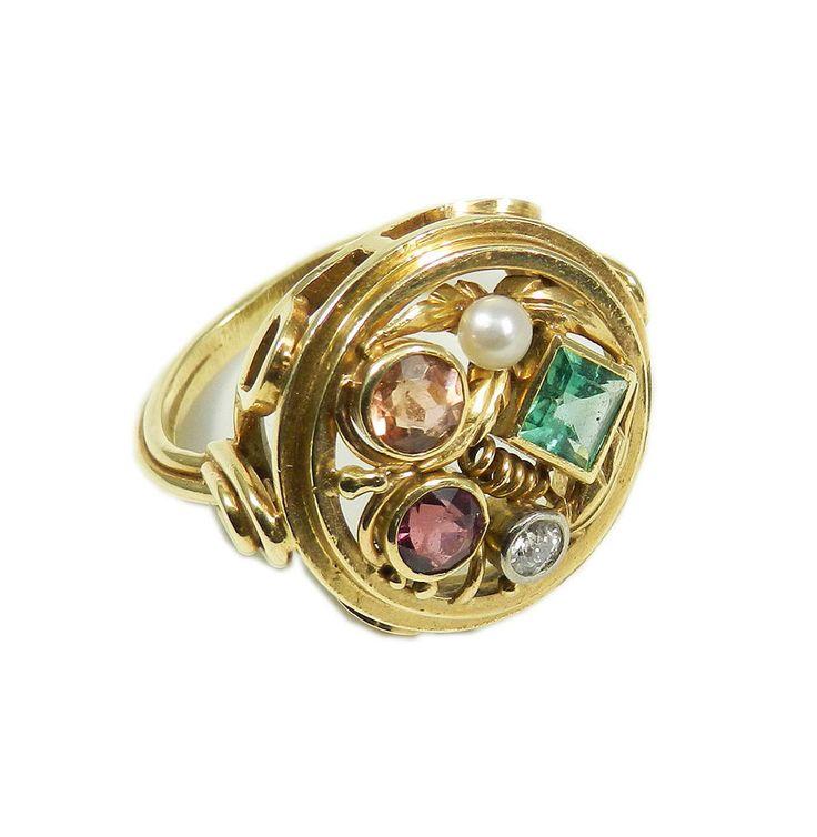 Um 1930 Großer  Gemüse  Ring Diamant Smaragd Rubin Citrin Perle 585 Gold