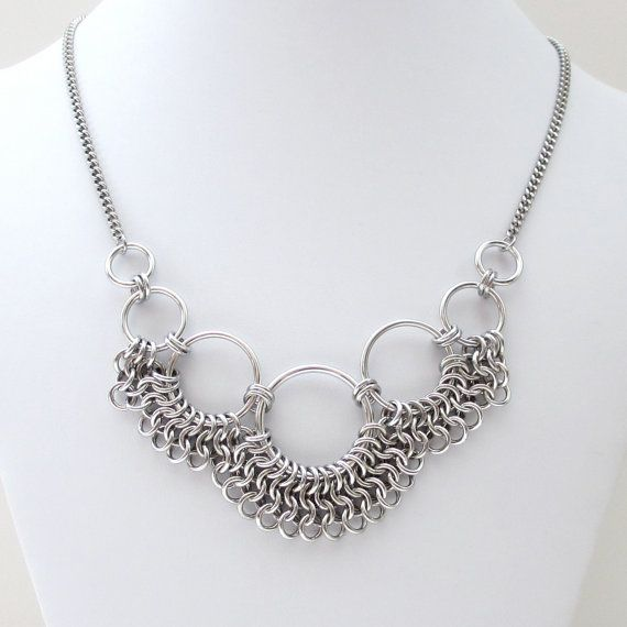 Women's chainmail necklace, Euro 4 in 1 weave by TattooedAndChained - very clever!
