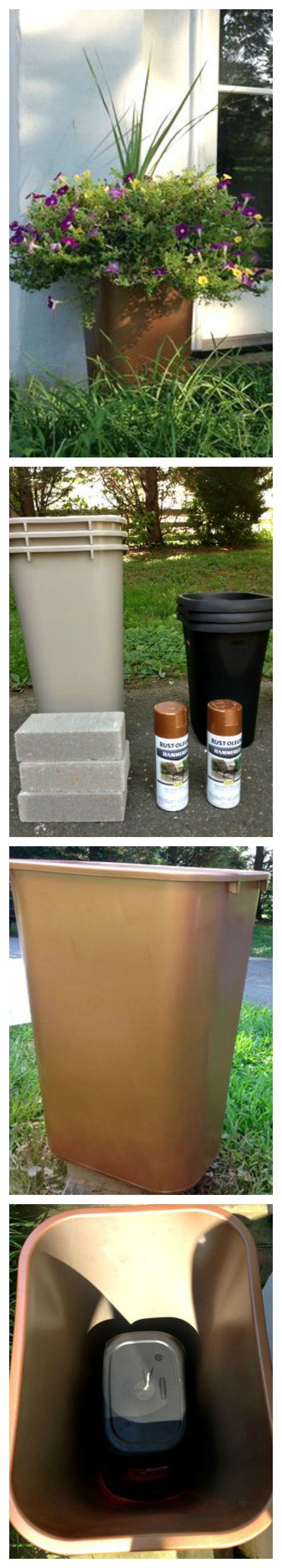 DIY Large Outdoor Planters For Cheap ~ Create large, lovely planters by spray painting cheap plastic garbage cans.