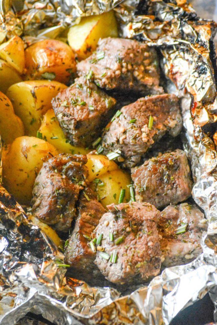 Easy Grilled Butter Garlic Steak Potato Foil Pack Dinner Recipes